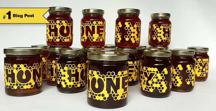 bright yellow die cut honeycomb textured labels