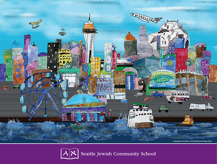 colorful drawing with seattle space needle, ferris wheel, fetties, Starbucks, and all famous seattle icons.