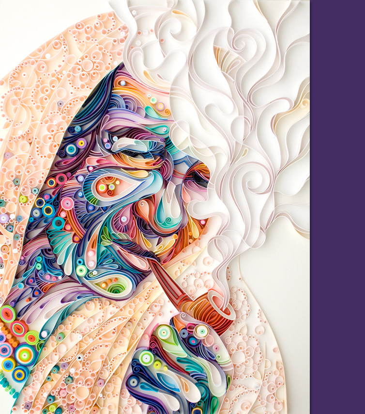paper art, portait of a woman with long hair smoking a pipe.