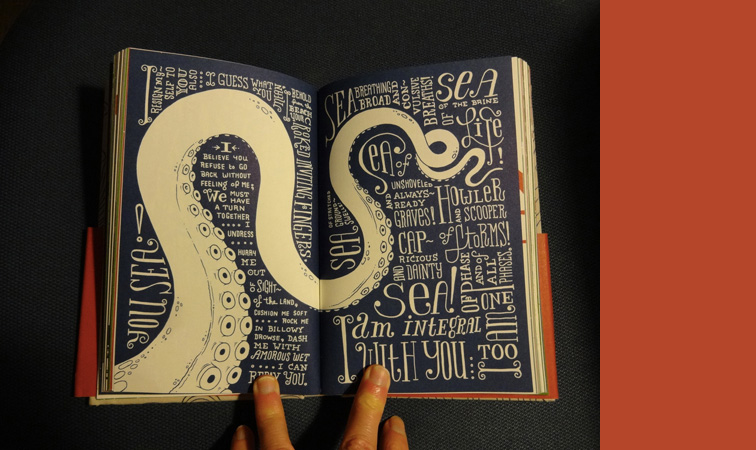 sample interior spread, full of hand lettering and drawing of an octopus arm