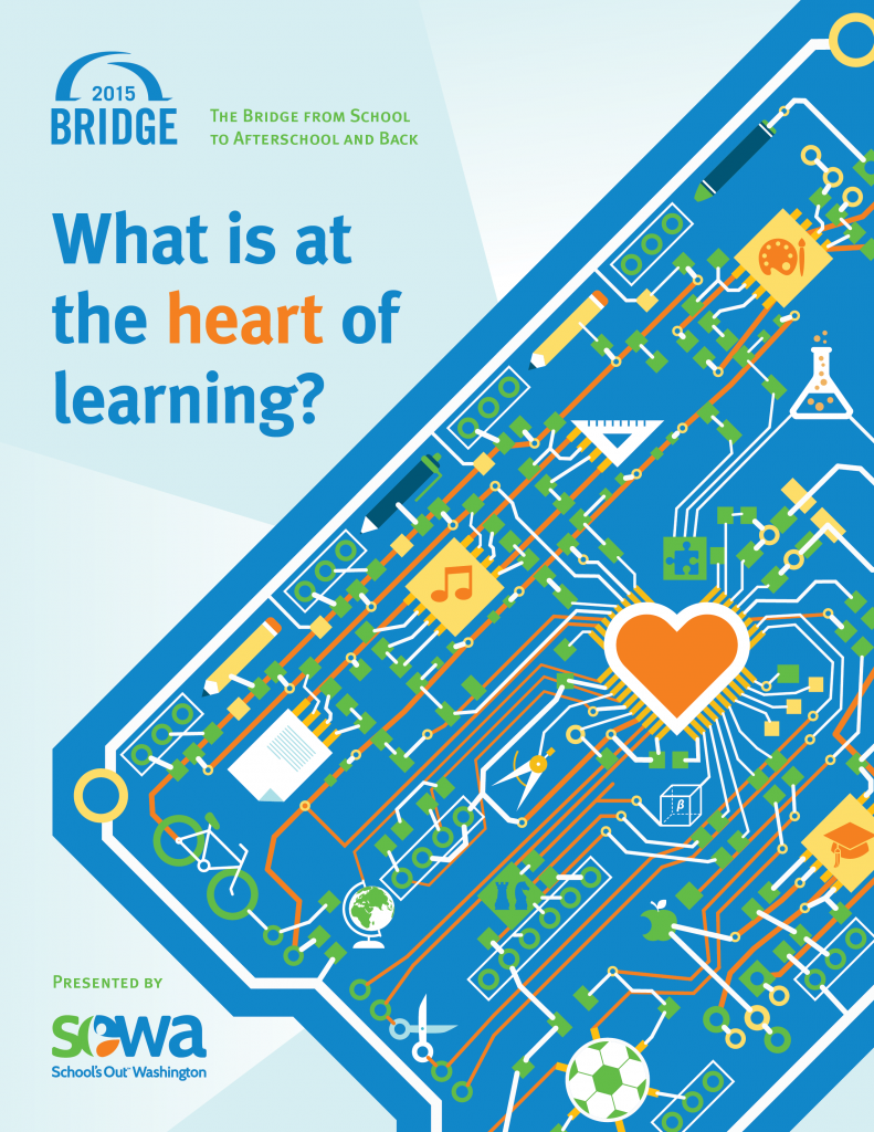 Event program cover design with custom circuit board illustration to match their theme of What is at the Heart of Learning and their maker community.