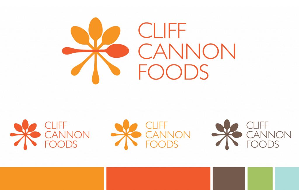 Cliff Cannon Foods Logo options in different color and color palette designed by Mindi and Riley Raker