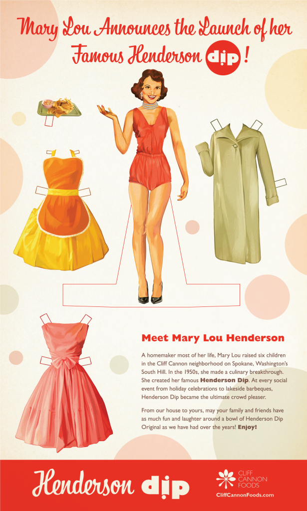 Marketing poster design for launching Henderson Dip with vintage paper doll theme.
