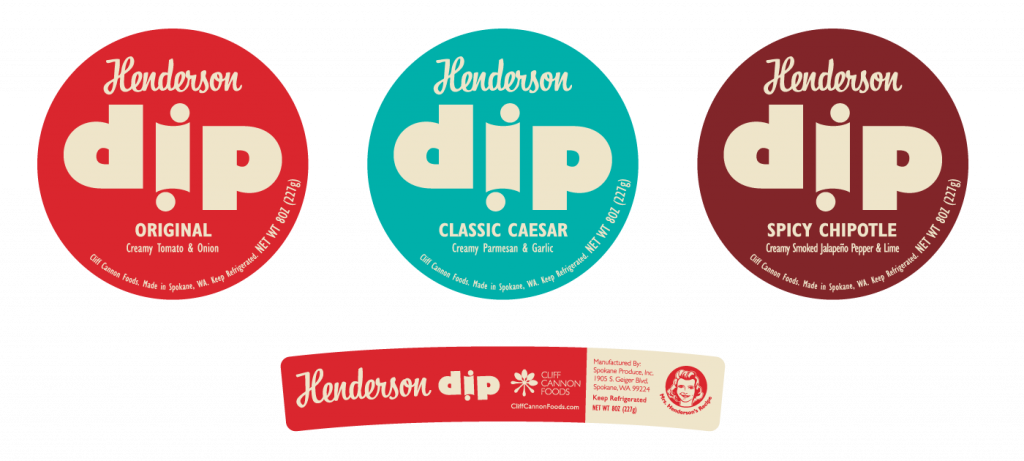 Henderson Dip food packaging design by Mindi and Riley Raker