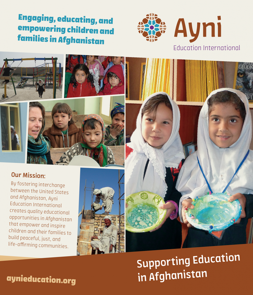 Sample brochure design with children from Afghanistan on the cover
