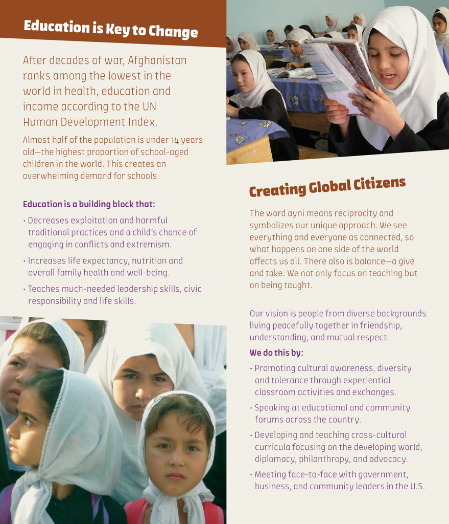 sample interior brochure spread about using education to support change