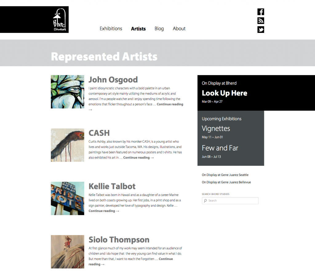 Sample screen shoot of Bherd's Represented artists page
