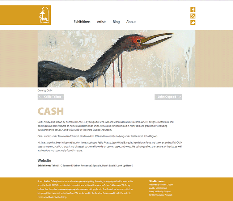 Screenshot showcases artwork by Cash on the Bherds Studios website