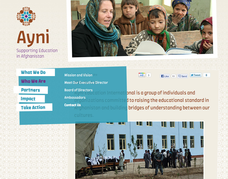 Sample website design showcasing the Ayni Identity and the Amman typeface