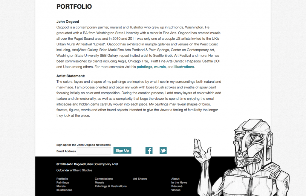 John Osgood's portfolio website built on WordPress with illustration in the footer (screenshot)