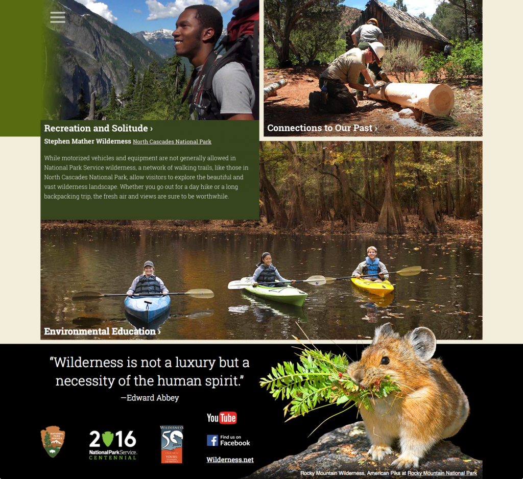 Screenshot of the new Wilderness Website design, shows footer links to personal stories, and a little Pika eating some greens.