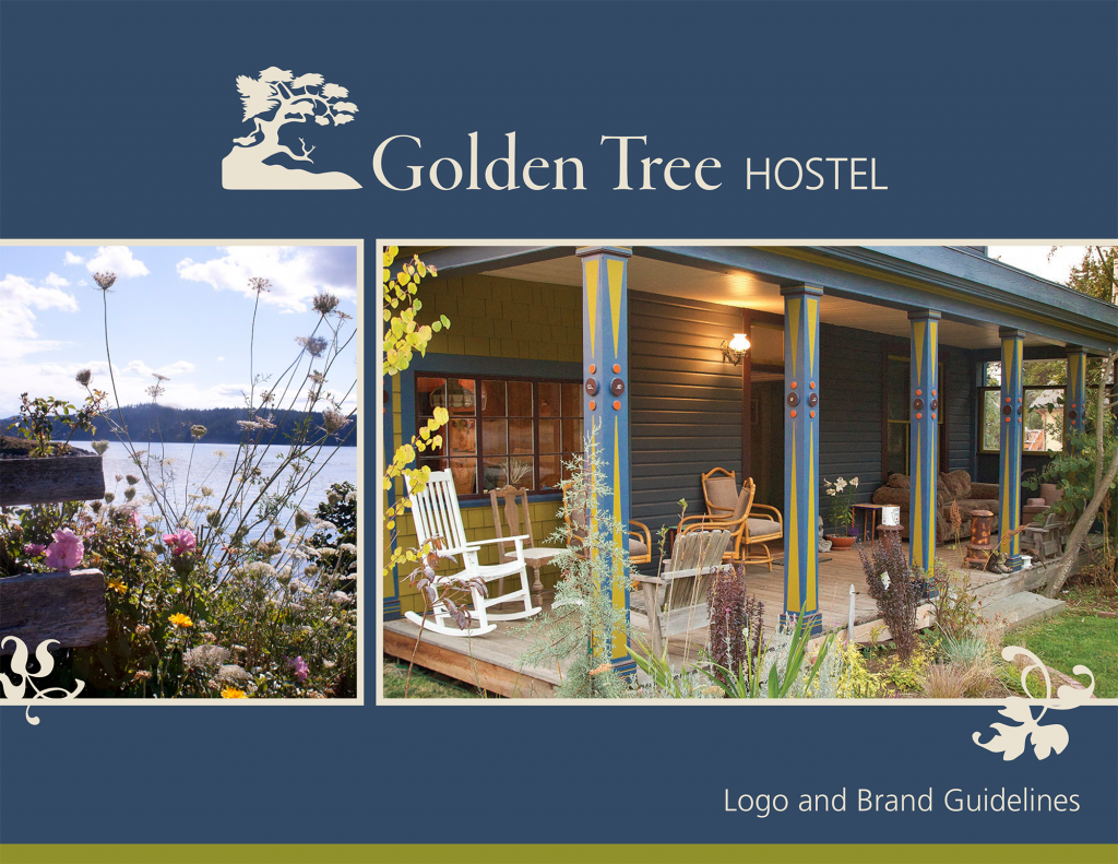 Golden Tree Hostel Brand Guide cover with images of the hostel and of Orcas Island