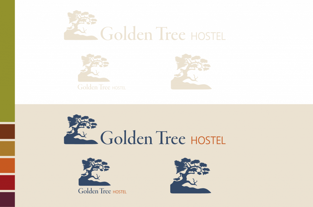Golden Tree Hostel logo variations and color palette defined.