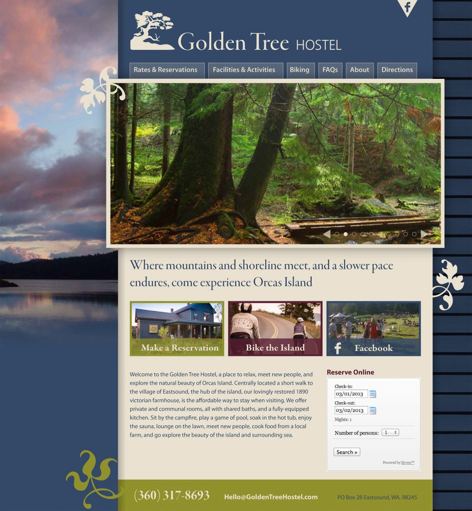 Golden Tree Hostel website design sample home page designed by Blank Space