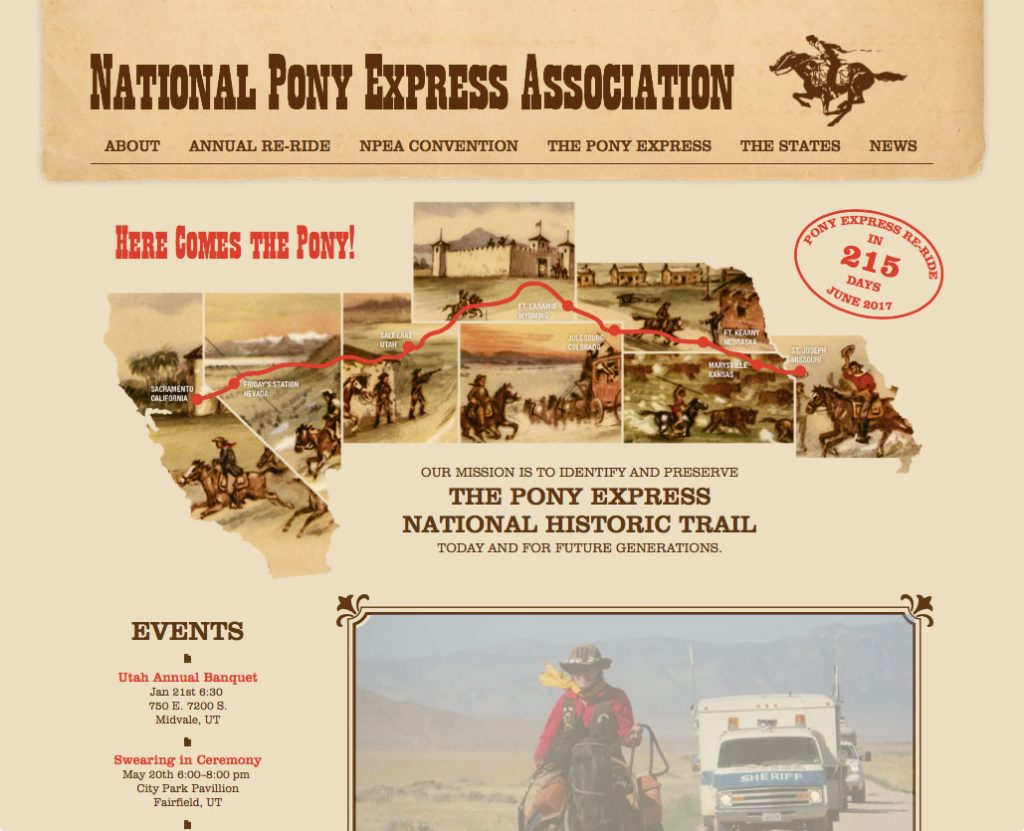 Pony Express website home page design