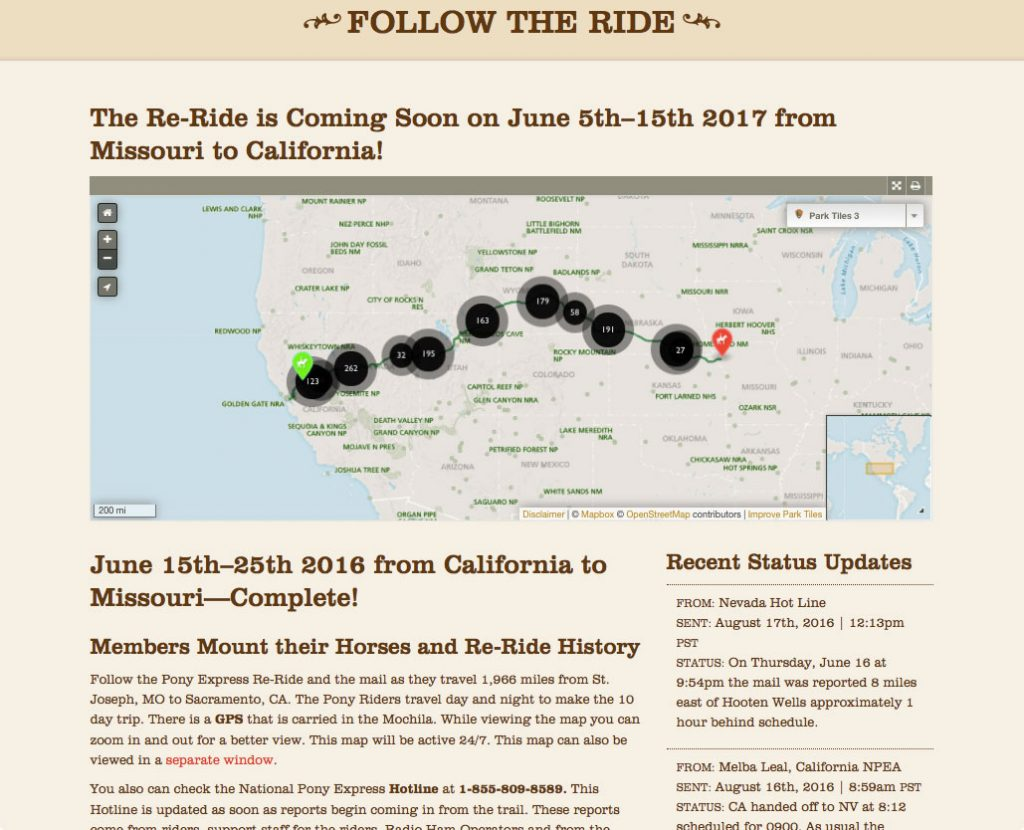 NPEA Re-ride website layout