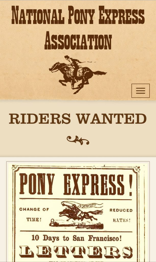 Pony Express phone layout
