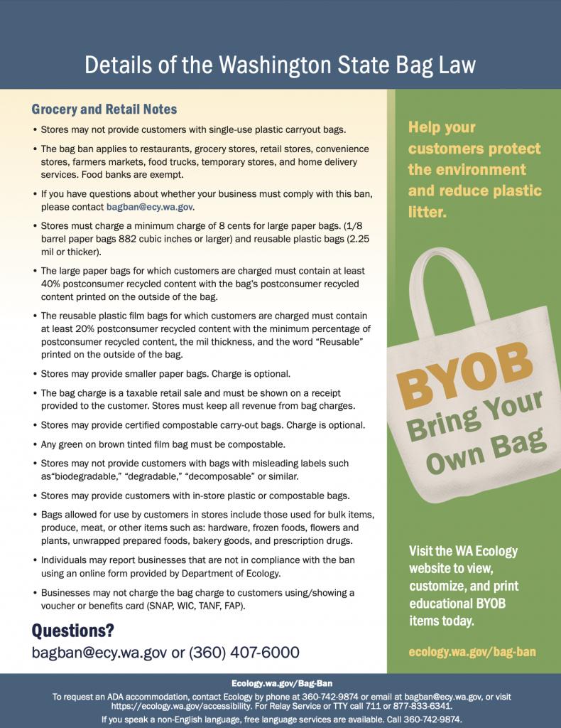 WA State bag ban details