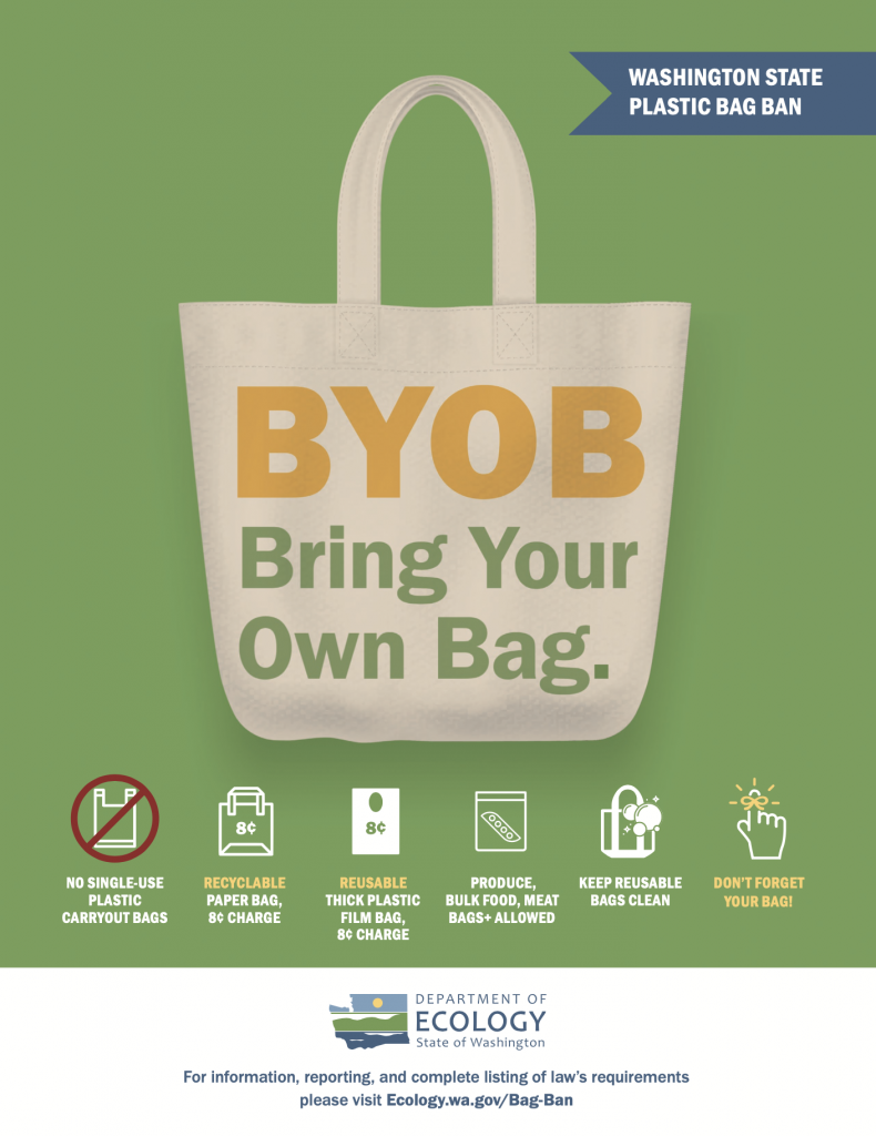 WA State bag ban flyer, bring your own bag